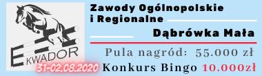 Zawody Ogólnopolskie i Regionalne Dąbrówka Mała 31.07-02.08.2020 pula nagród: 55000 zl Dodatkowy konkurs Bingo 10000 zł